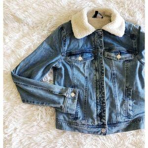 H&M light blue pile-lined denim jacket